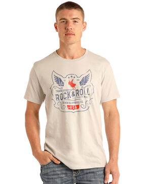 Rock & Roll Cowboy Men's Wings and Rider Graphic T-Shirt , White, hi-res