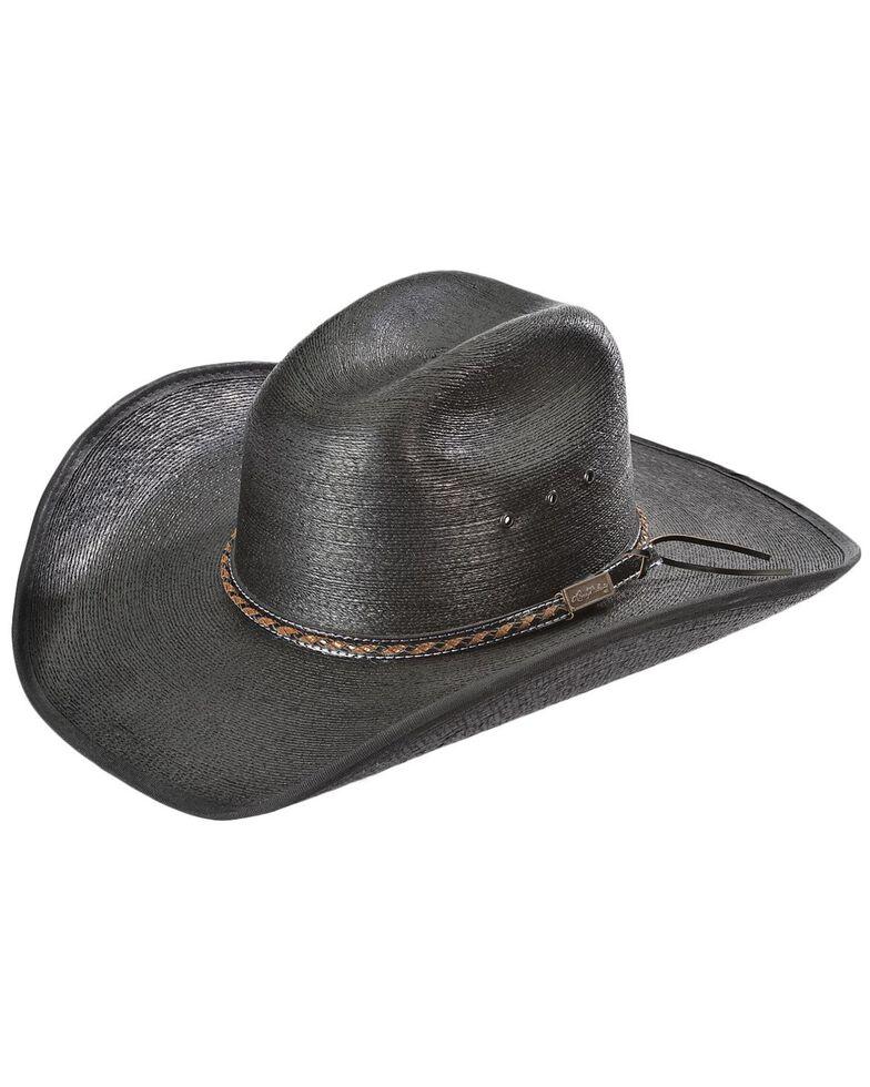 Larry Mahan 30X Lawton Palm Straw Cowboy Hat, Black, hi-res
