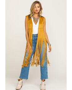 Fornia Women's Tan Faux Suede Fringe Vest , Tan, hi-res