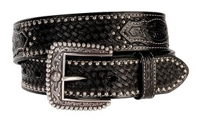 Ariat Brown Sands Studded & Embossed Leather Belt - Reg & Big, Black, hi-res