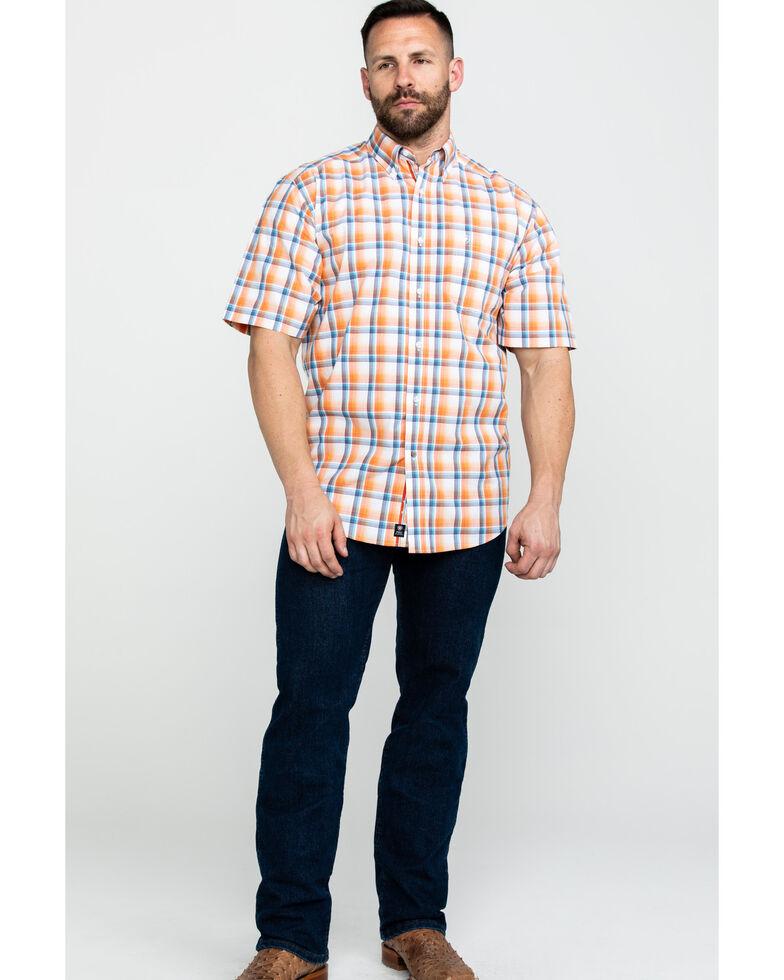 Ariat Men's Navajo Large Plaid Short Sleeve Western Shirt - Big & Tall , Orange, hi-res