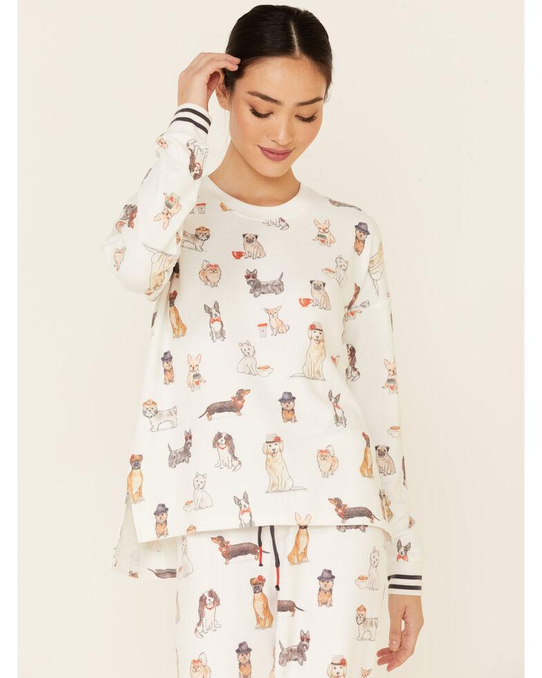 PJ Salvage Women's Coffee & Canines Print Long Sleeve Top , Ivory, hi-res