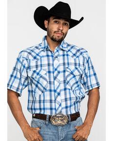 Resistol Men's Blue Vallecito Large Plaid Short Sleeve Western Shirt , Blue, hi-res