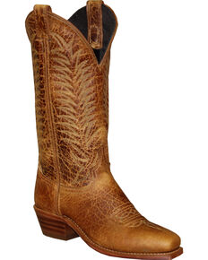 Abilene Women's Textured Bison Western Boots - Square Toe, Sand, hi-res