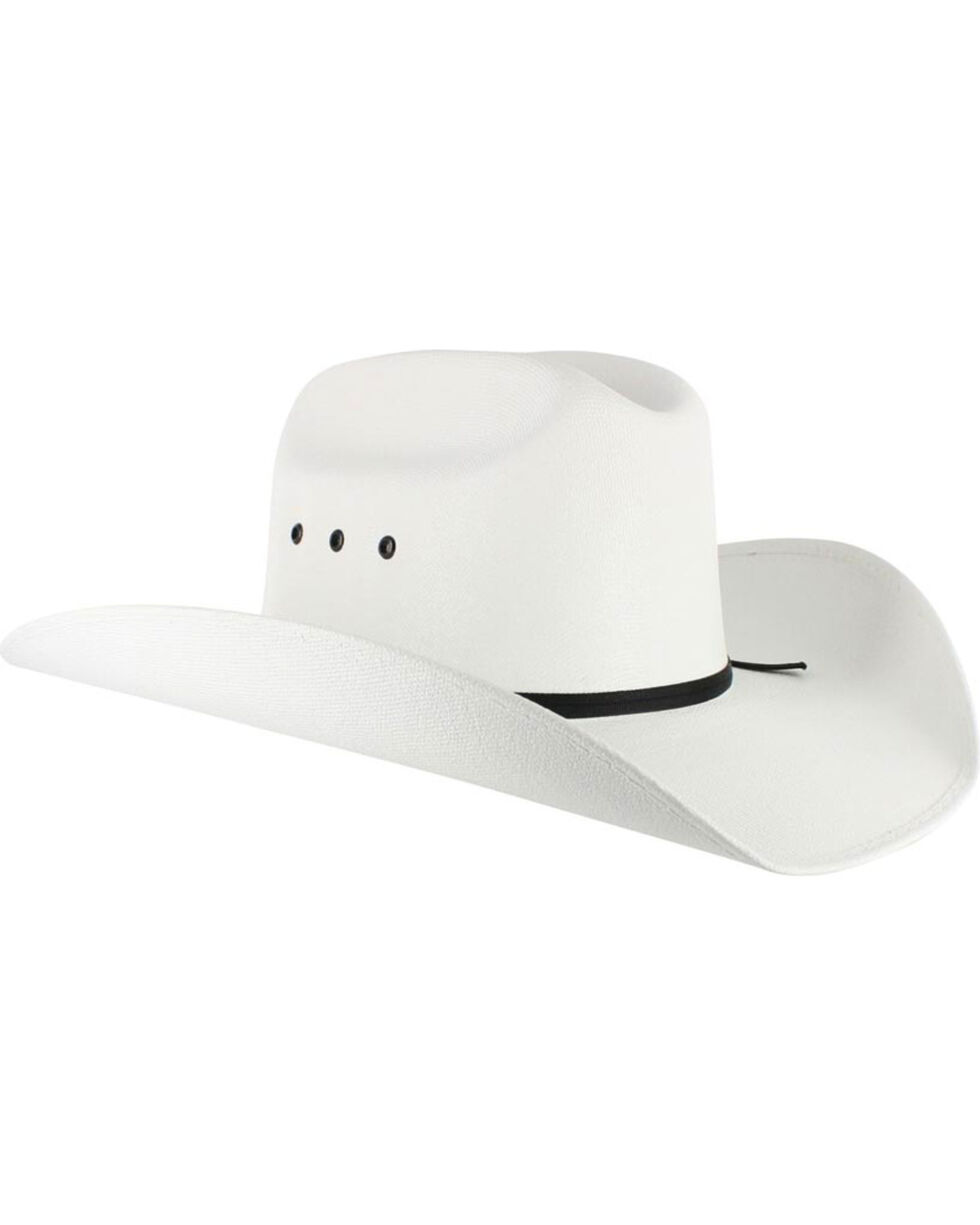 Cody James Boys' Elastic Fit Straw Cowboy Hat, White, hi-res