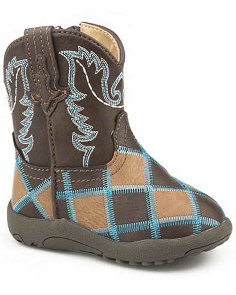 Roper Toddler Girls' Turquoise Stitch Western Boots - Round Toe, Tan, hi-res