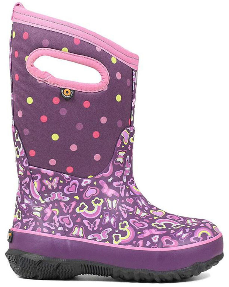 Bogs Girl's Classic Rainbow Winter Boots - Round Toe, Pink, hi-res