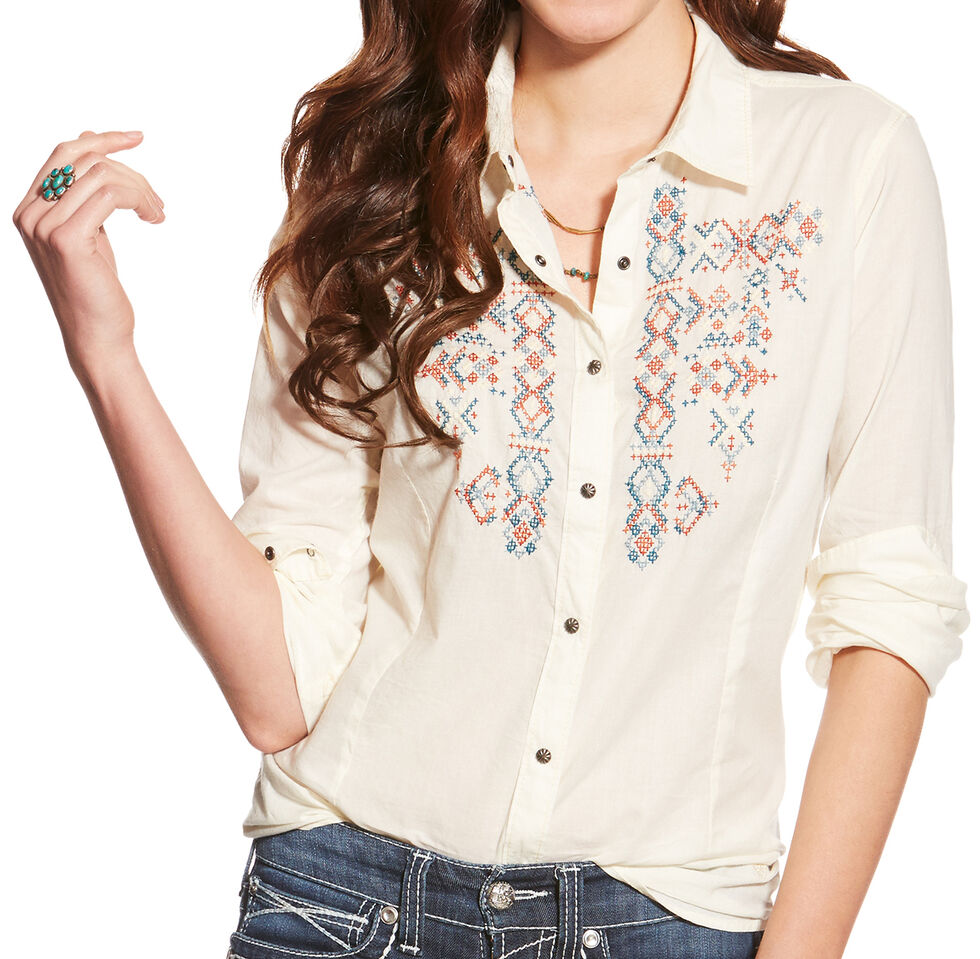 Ariat Women's Ivory Hatch Western Shirt , Ivory, hi-res