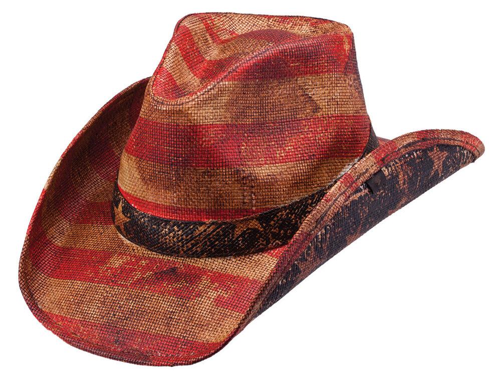 Peter Grimm Patriot Straw Cowboy Hat, Tea, hi-res