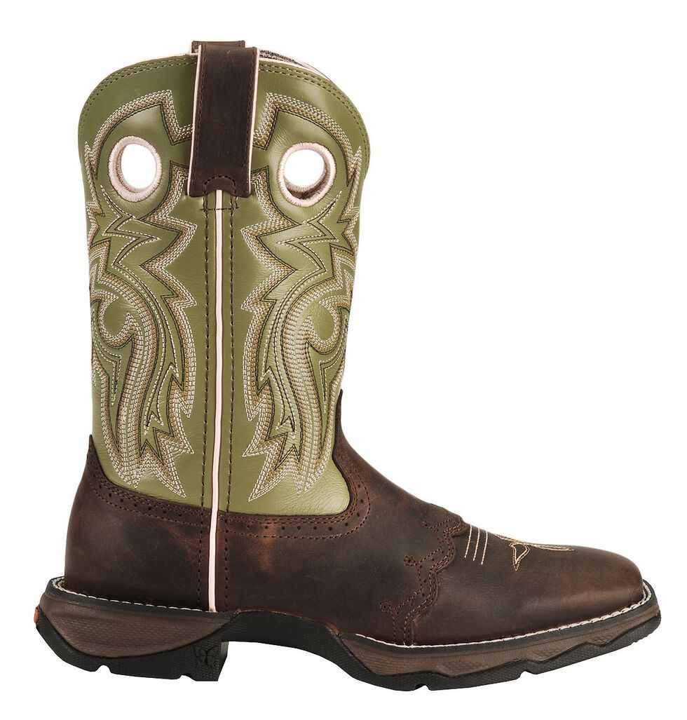 Durango Lady Rebel Green Saddle Cowgirl Boots - Square Toe, Bay Apache, hi-res