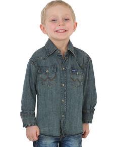 Wrangler Boys' Indigo Western Denim Shirt , Indigo, hi-res