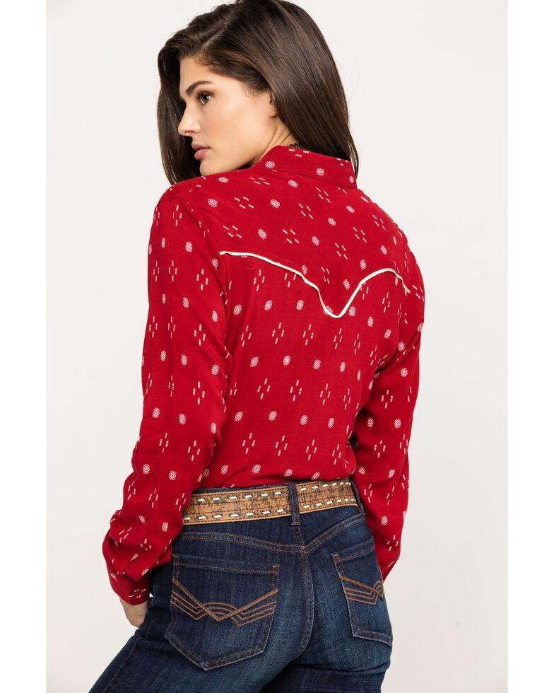 Wrangler Women's Red Ikat Print Long Sleeve Western Shirt, Red, hi-res