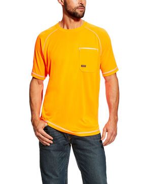 Ariat Men's Orange Rebar Sunstopper Short Sleeve Work Shirt - Tall, Orange, hi-res