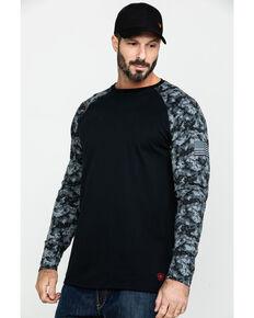 Ariat Men's Grey Camo FR Long Sleeve Work Raglan T-Shirt - Big, Camouflage, hi-res