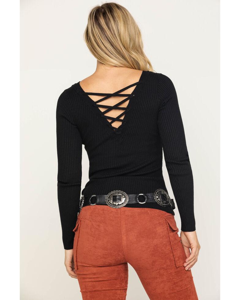 Shyanne Women's Black Rib Knit Lace Up Solid Top, Black, hi-res