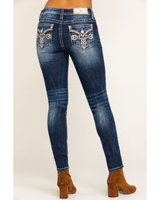 Miss Me Women's 2 Tone Medium Wash Western Skinny Jeans, Blue, hi-res