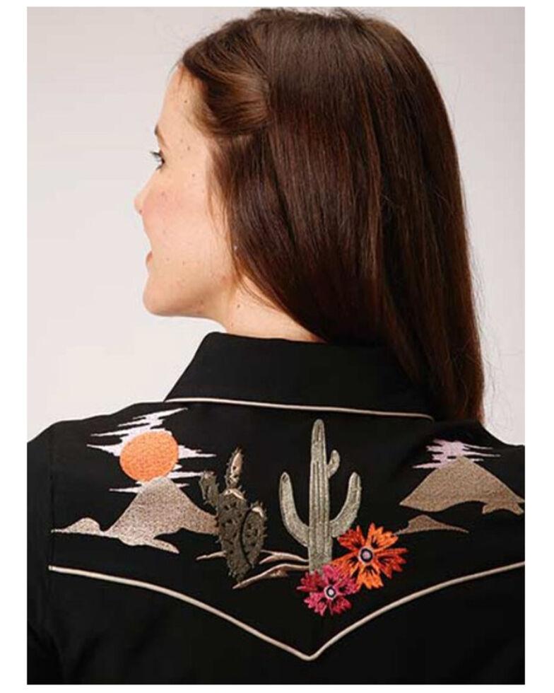 Old West Women's Desert Cactus Long Sleeve Western Dress, Black, hi-res
