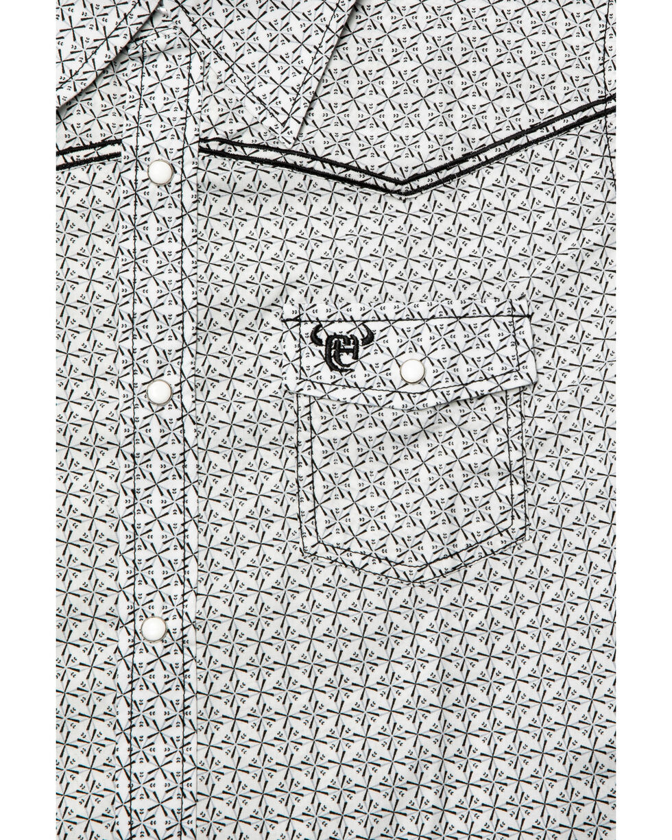 Cowboy Hardware Boys' Snowflake Diamond Print Short Sleeve Western Shirt , White, hi-res