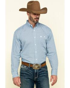 George Strait By Wrangler Men's Purple Diamond Geo Print Long Sleeve Western Shirt - Big , Purple, hi-res