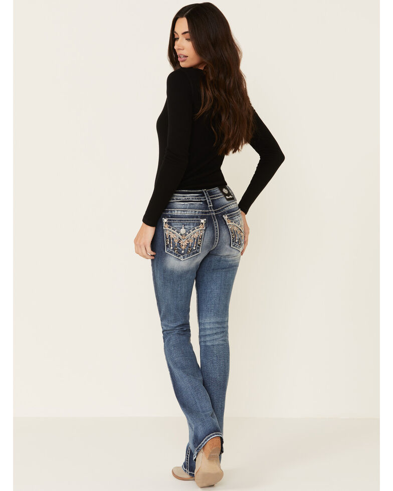 Miss Me Women's Light Wash Faux Flap Pink Floral Embroidered Bootcut Jeans, Blue, hi-res