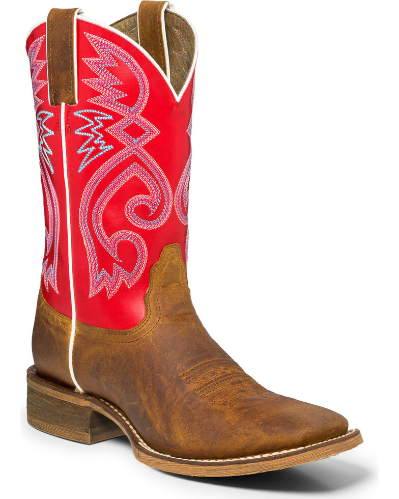 "Nocona Women's 11"" Red and Tan Cowgirl Boots - Square Toe, Tan, hi-res"