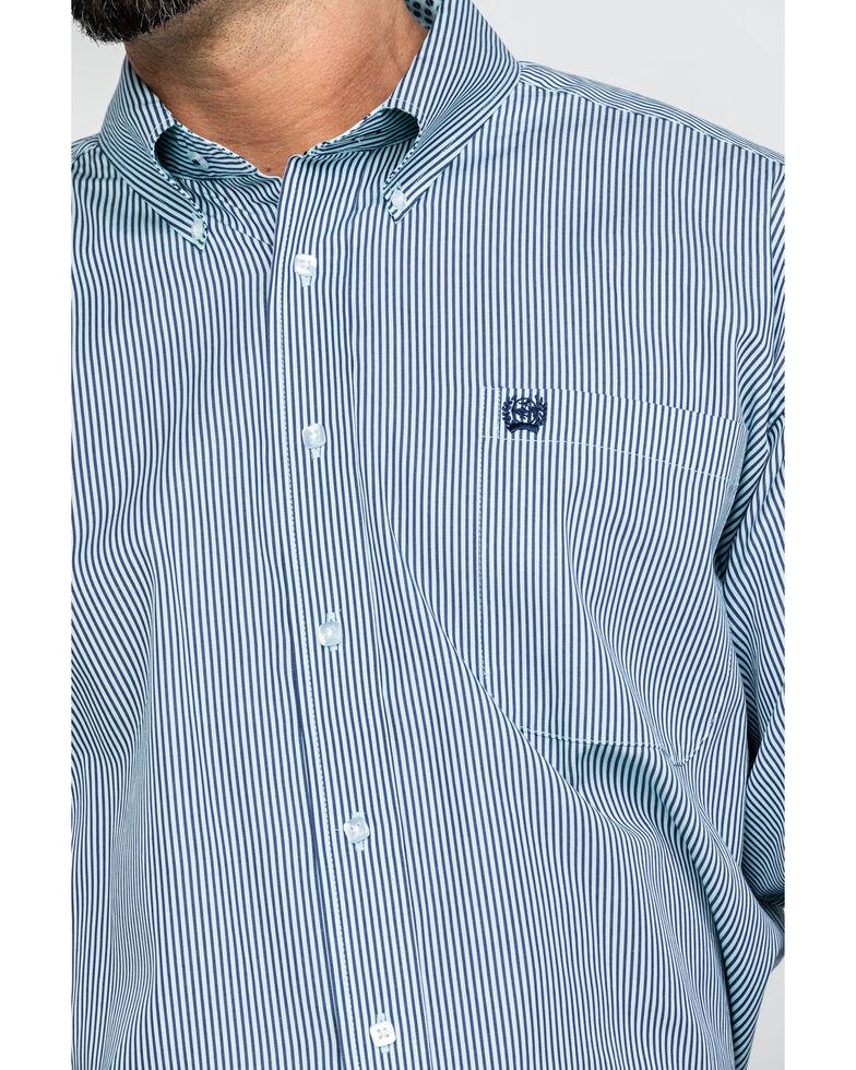 Cinch Men's Tencel Striped Long Sleeve Western Shirt - Big , Light Blue, hi-res