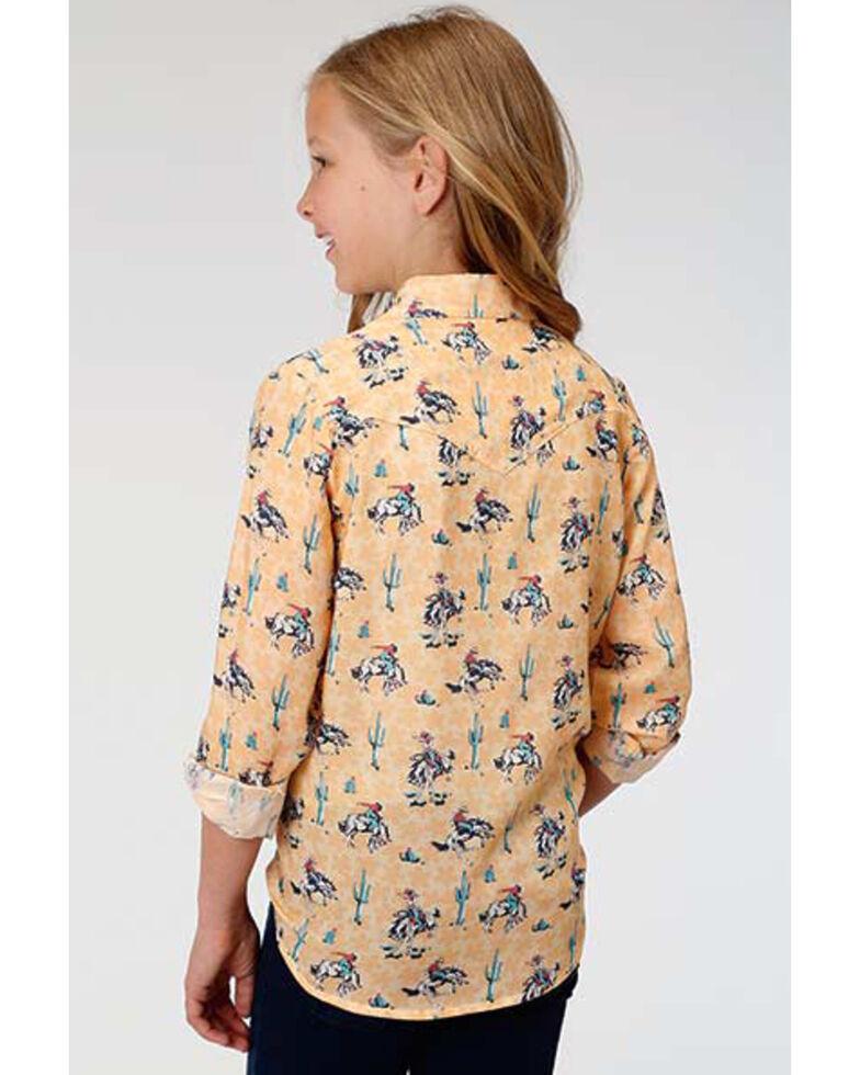 Five Star Girls' Yee-haw Yellow Bronco Snap Long Sleeve Western Shirt, Yellow, hi-res