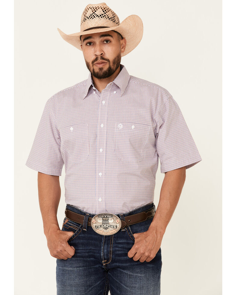 George Strait By Wrangler Men's Red Check Plaid Short Sleeve Button-Down Western Shirt , Red, hi-res