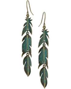 Montana Silversmiths Women's Rustic Dangling Teal Feather Earrings, Silver, hi-res