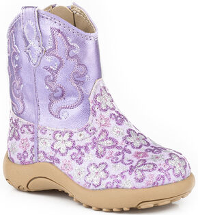 Roper Infant Girls' Purple Glitter Booties - Round Toe, Purple, hi-res