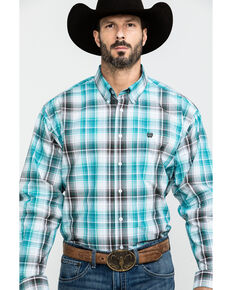 Cinch Men's Multi Purple Plaid Long Sleeve Western Shirt , Purple, hi-res