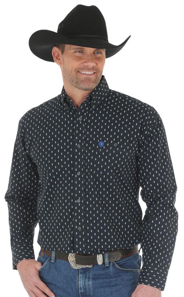 Wrangler Men's George Strait Printed Poplin Shirt - Tall, White, hi-res