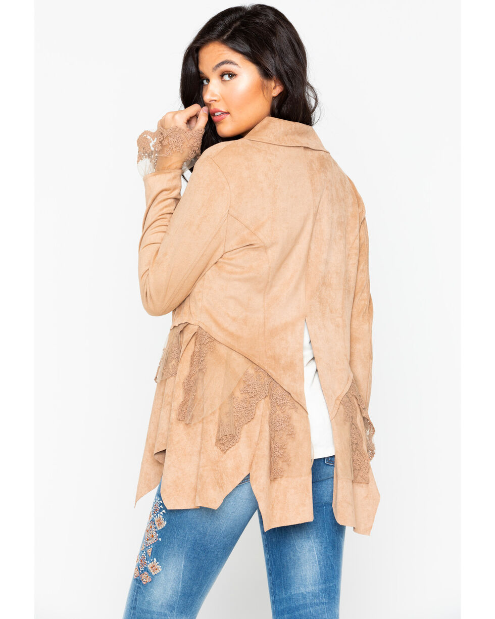 Cripple Creek Women's Microsuede Long Sleeve Button Front Jacket , Sand, hi-res