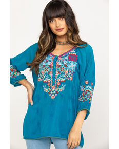 Johnny Was Women's Muna Blouse, Blue, hi-res