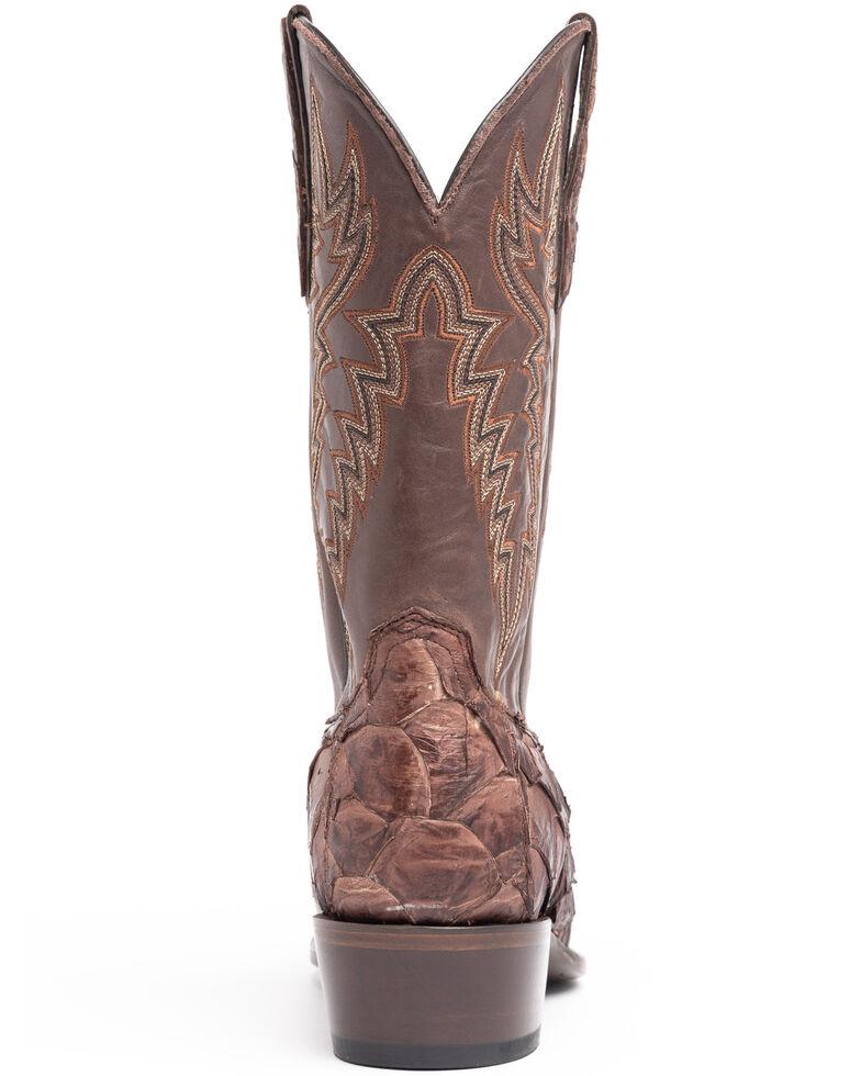 Cody James Men's Coffee Shiny Pirarucu Western Boots - Narrow Square Toe, Brown, hi-res