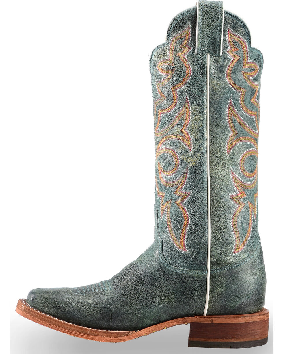 "Justin Bent Rail Women's 13"" Katia Turquoise Cowgirl Boots  - Square Toe, Medium Yellow, hi-res"