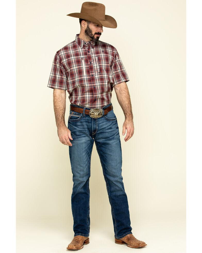 Ariat Men's VentTek Navy Plaid Short Sleeve Western Shirt , Red, hi-res
