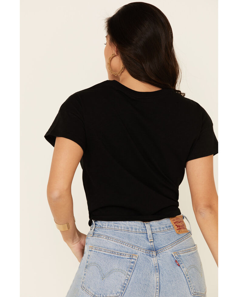 Shyanne Women's Here For The Beer Graphic Tie-Front Short Sleeve Tee , Black, hi-res
