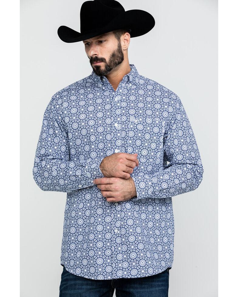 Ariat Men's Aikens Geo Print Long Sleeve Western Shirt , Blue, hi-res