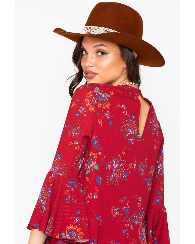 Miss Me Women's Ruffle Bell Sleeve Top, Burgundy, hi-res