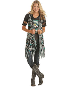 Powder River Outfitters Women's Black Aztec Fringe Vest, Black, hi-res