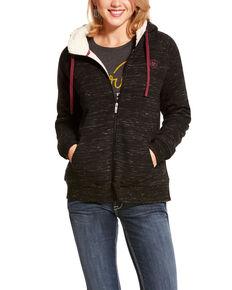 Ariat Women's Black R.E.A.L. Fleece Full Zip Sweatshirt, Black, hi-res