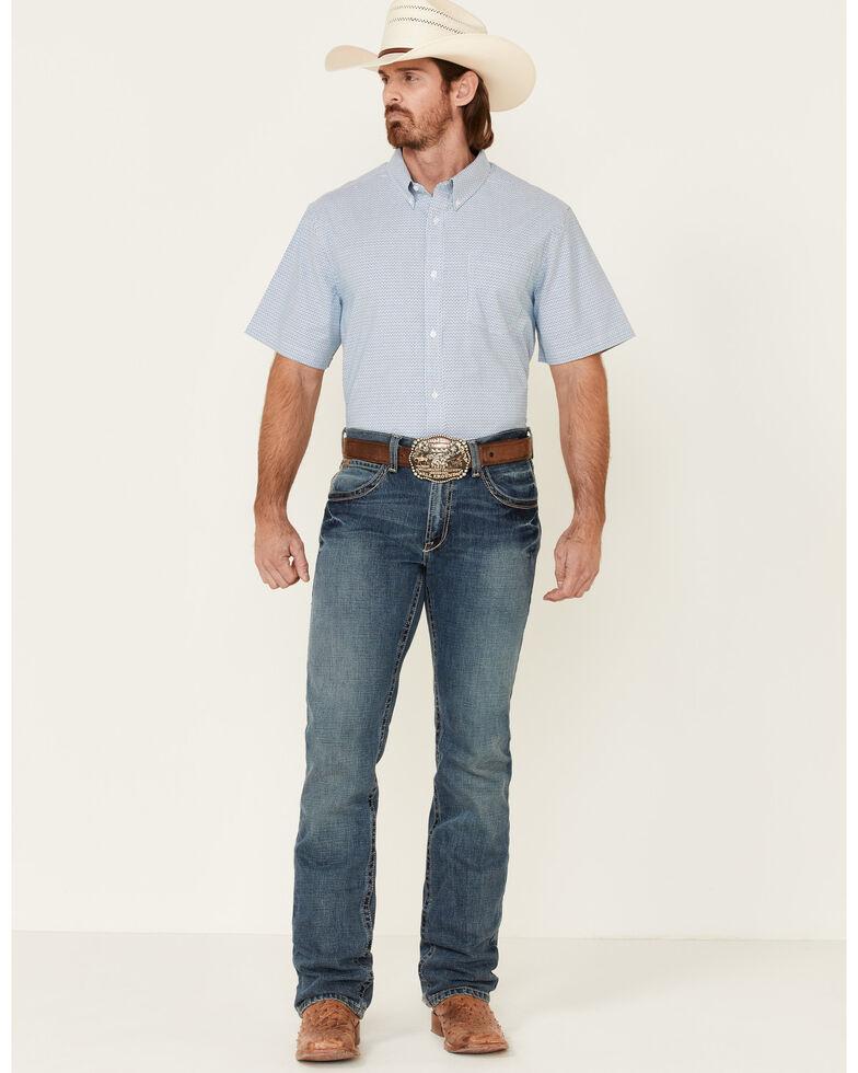 Cody James Core Men's Zion Dobby Stripe Short Sleeve Button-Down Western Shirt - Big, Blue, hi-res
