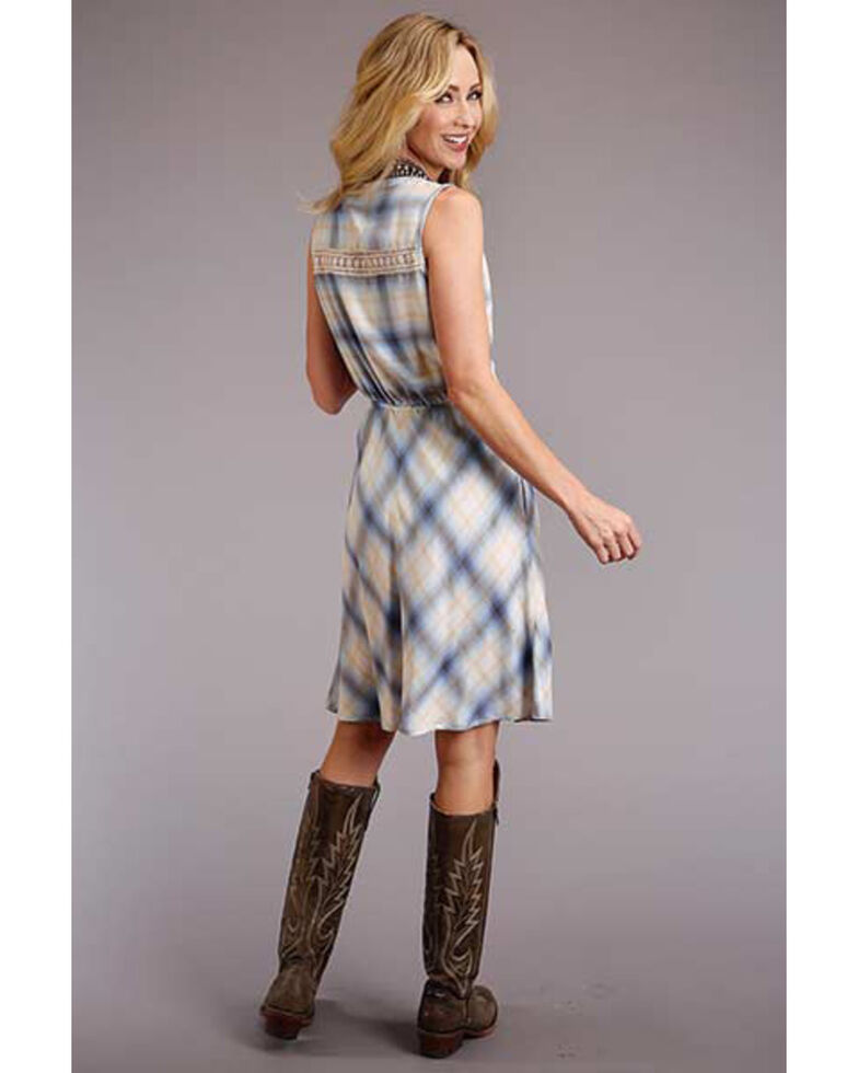 Stetson Women's Plaid Crochet Inset Sleeveless Dress, Blue, hi-res