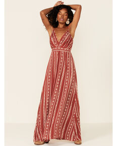 Angie Women's Floral Stripe Maxi Dress, Rust Copper, hi-res