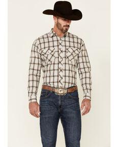 Wrangler Retro Premium Men's Tan & Grey Paisley Plaid Long Sleeve Western Shirt - Tall , Tan, hi-res
