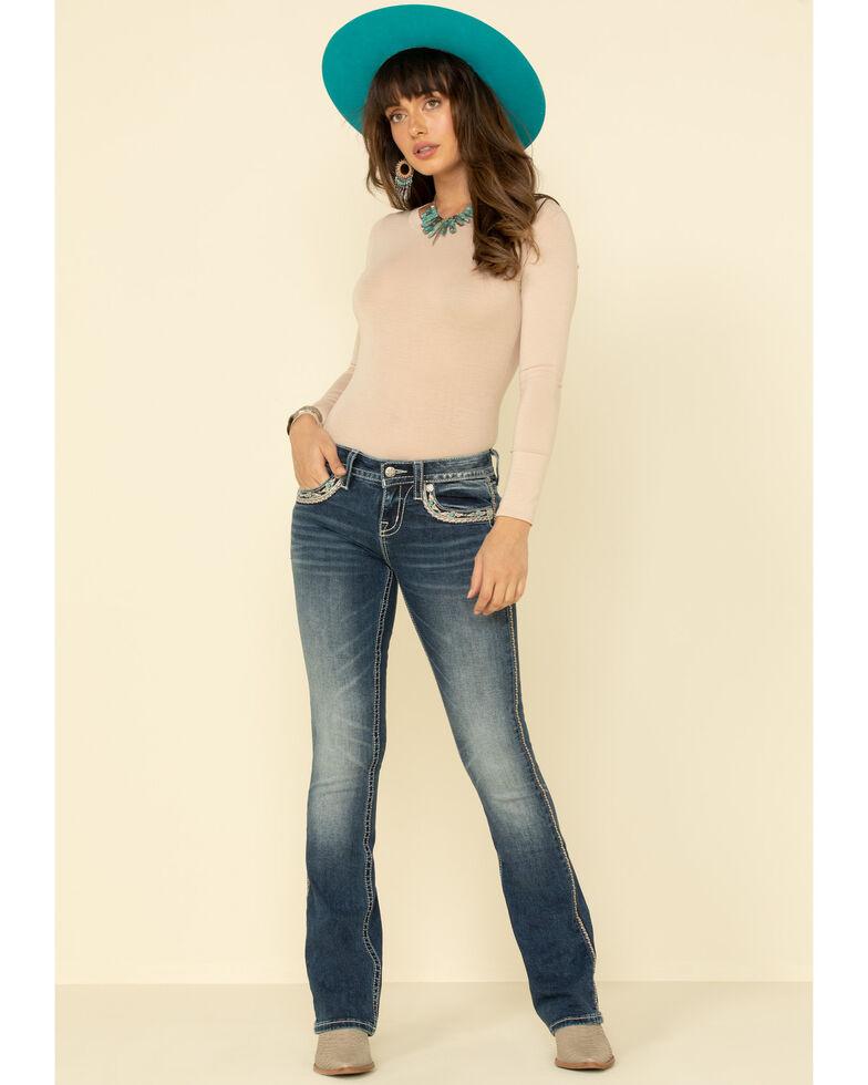 Miss Me Women's Medium X-Stitch Flap Pocket Chloe Bootcut Jeans, Blue, hi-res