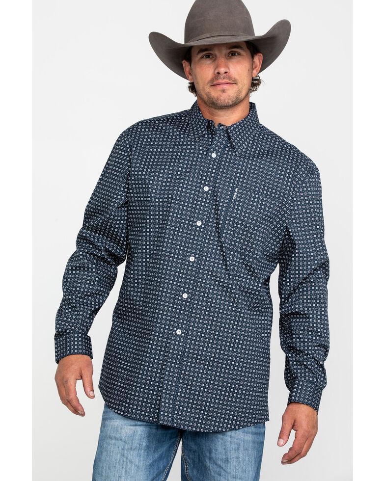 Cinch Men's Navy Modern Geo Print Button Long Sleeve Western Shirt , Navy, hi-res