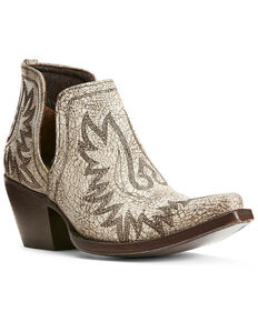Ariat Women's Dixon Blanco Western Booties - Snip Toe, White, hi-res