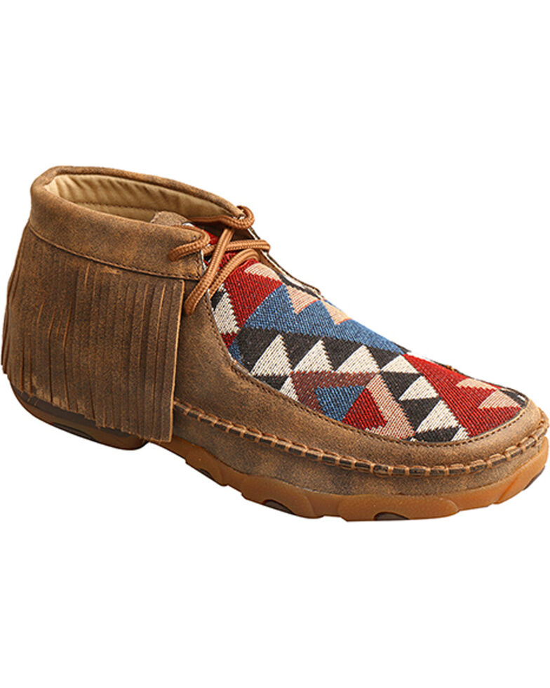 Twisted X Women's Fringe Driving Moccasins, Brown, hi-res